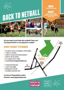 Back to Netball poster for 12 week course in Dulwich.